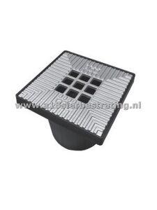 Vloerput 20x20 met gietijzeren rooster met coating RAL 9006